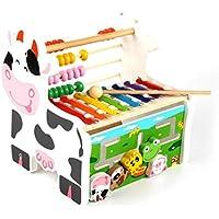幼児期のゲーム 多機能木製牛アバカスオクターブノッキングピアノオルゴール(カラフル)