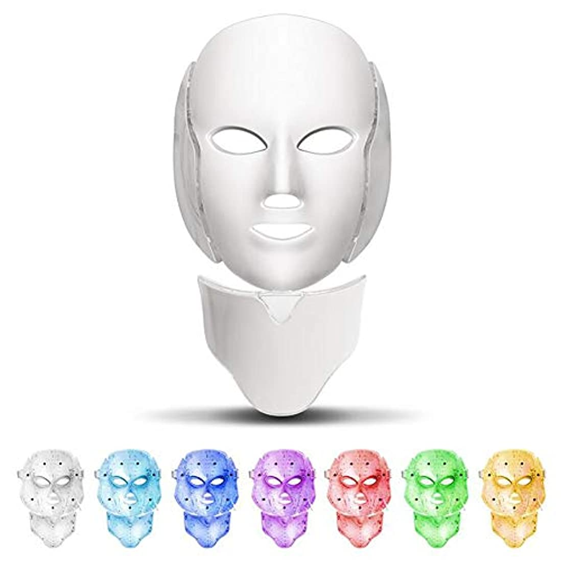 記者実験トーナメント7色フェイシャルマスク、顔と首ネオン輝くLEDフェイスマスク電気顔スキンケア顔肌美容