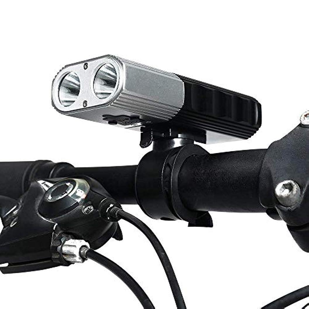 中に引き金タクトUSB充電式自転車ライトセット、2x700ルーメンスーパーブライトヘッドライトフロントライト、4灯モード全ての自転車にフィット、道路、山