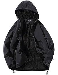 BANKIKU (バンキク) メンズ ジャケット 綿入れ 裏起毛 おしゃれ フード 付き 暖かい コート 黒 ジャケット ライダース ブルゾン 厚手 防寒 防風 冬 秋 春