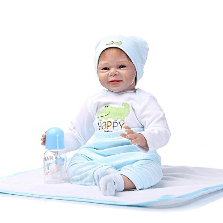 NPKDOLLシミュレーションRebornベビー人形ソフトSilicone 22インチ55 cmビニールLifelike Vivid Boy Girl Toyホワイトブルー動物