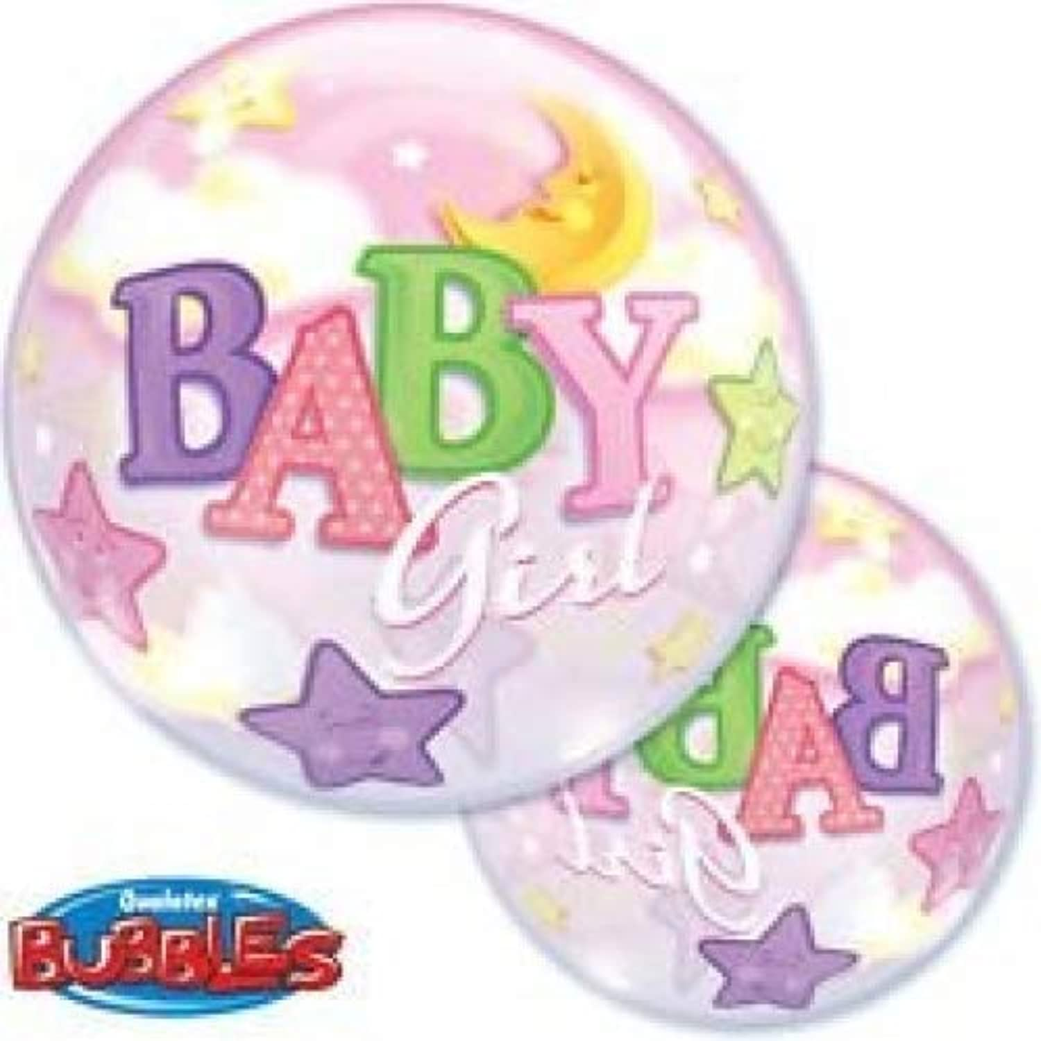5 PACK QUALATEX BABY GIRL Bubble Balloon 60cm Stretchy, Round Balloon