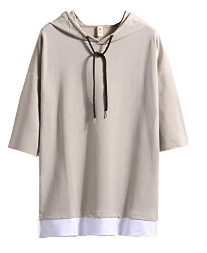 Infabe メンズ Tシャツ パーカー カットソー オシャレ 五分袖 トップス カジュアル インナー 春 夏 ゆったり 無地 半袖