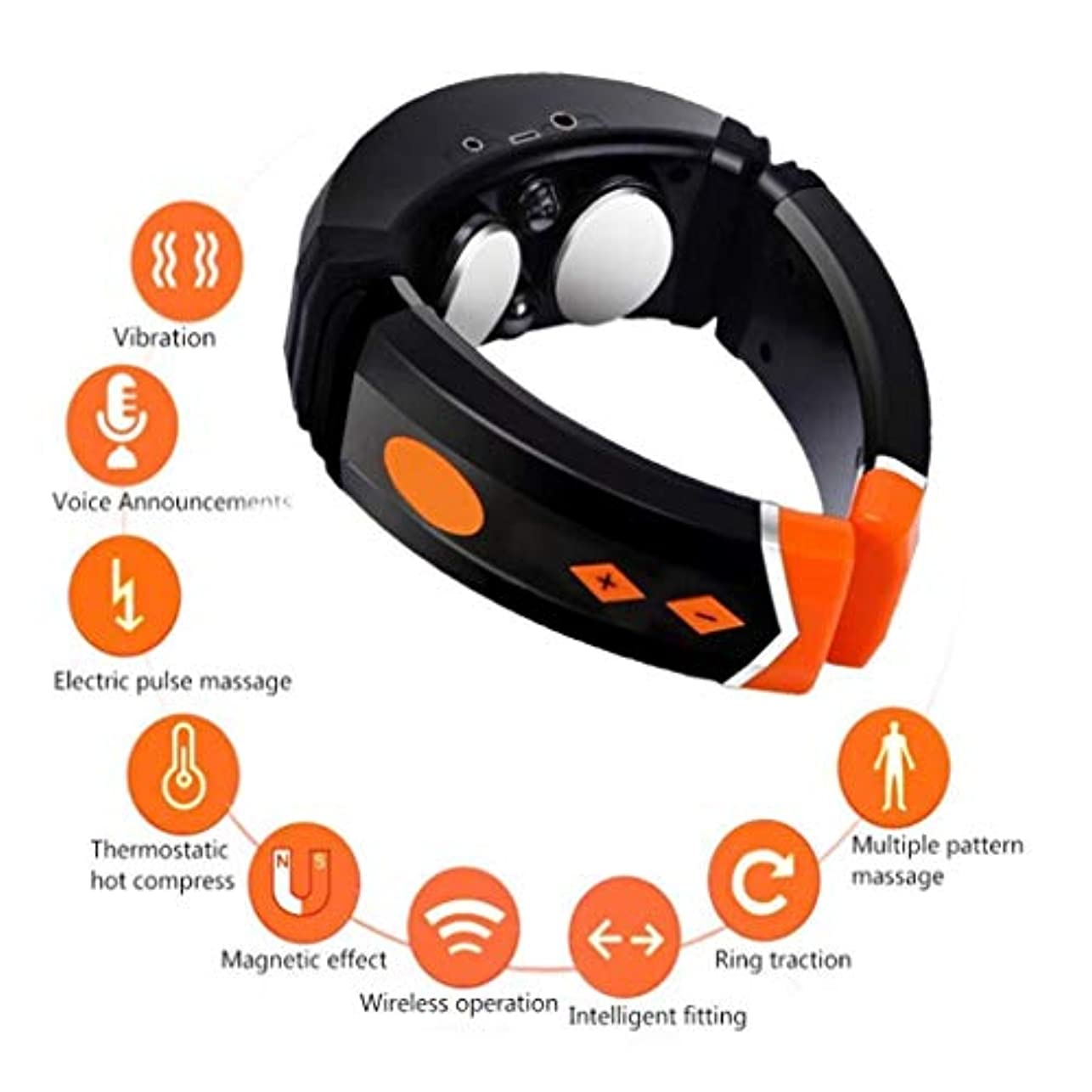 不明瞭反毒準備首のマッサージャー、3D首のマッサージャー、ストレスや痛みを和らげる暖房/音声放送/Bluetooth音楽/多機能マッサージ
