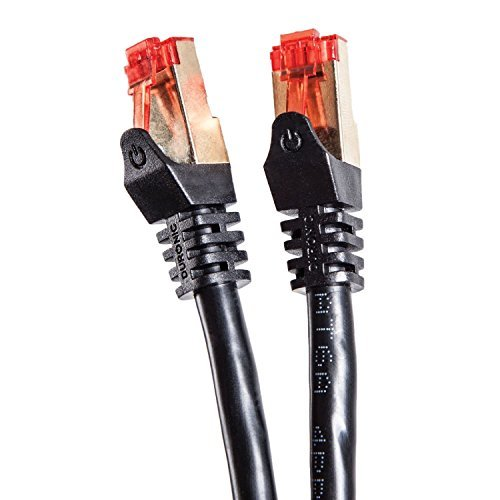 Duronic Black 25 Meter / 82 Feet Cat6a STP/ FTP Professional Gold Headed Shielded Network Cable - High Speed 500MHz Premium Quality Cat6a / Patch / Ethernet / Modem / Router / LAN - 25m / 82ft [並行輸入品]