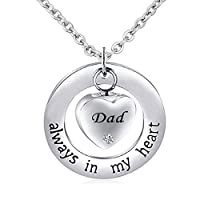 CLY Jewelry - Always in My Heart - Love Dad Heart 周辺リングサークル 遺灰 火葬ネックレス 遺灰 男性 女性 娘 息子
