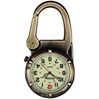 Entino Brand Antique Bronze Clip on Carabiner Luminous Face Sturdy FOB Watch Doctors Nurses Paramedics Chefs Military Style