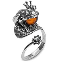 Amber Sterling Silver Frogプリンセスリング