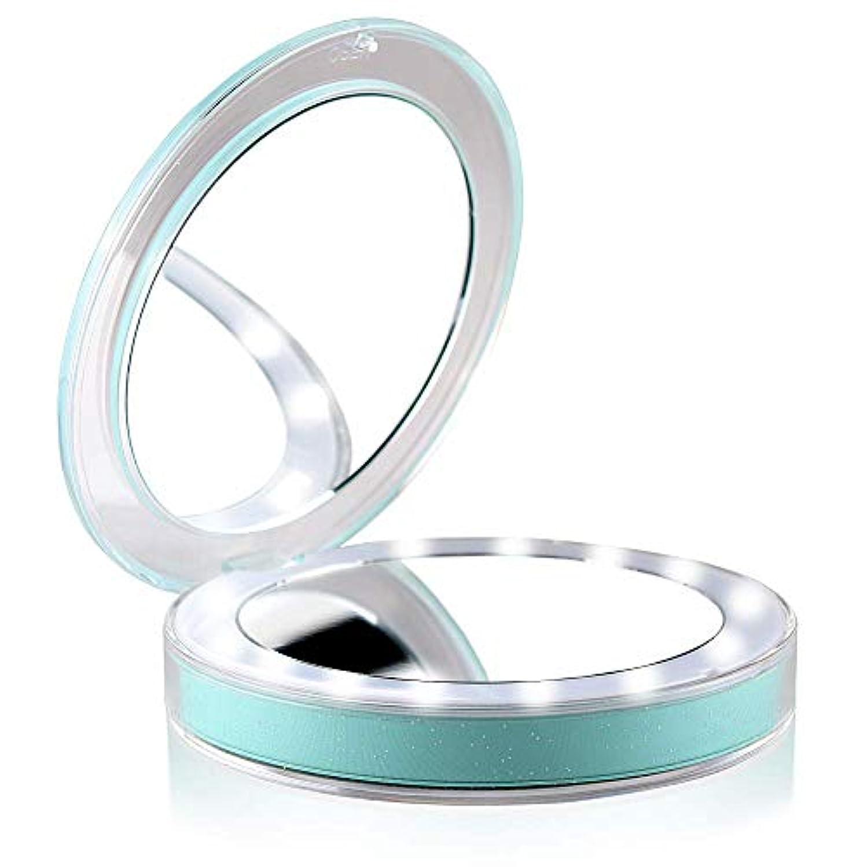 有名人降伏机Paisdola 化粧鏡 led付き拡大鏡付き 両面化粧鏡コンパクト携帯ミラー折りたたみミラー (Green)