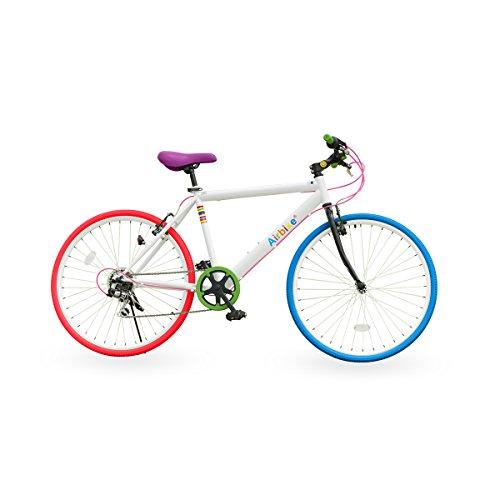 Airbike クロスバイク 自転車 26インチタイヤ (ホワイト×ポップ)