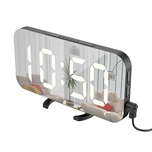 卓上時計 おしゃれ 掛け 目ざまし時計 置き時計ミラー 大きいLED液晶 スタイリッシュ シンプル おしゃれ USB電源ポート多機能時計 玄関 寝室 子供部屋 プレゼント
