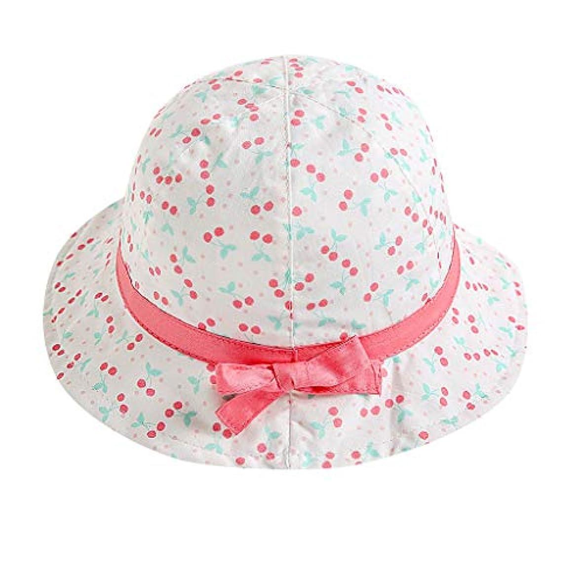 帽子 ハット キッズ女の赤ちゃんフルーツプリントちょう結びビーチキャッププリンセスサンプロテクション帽子
