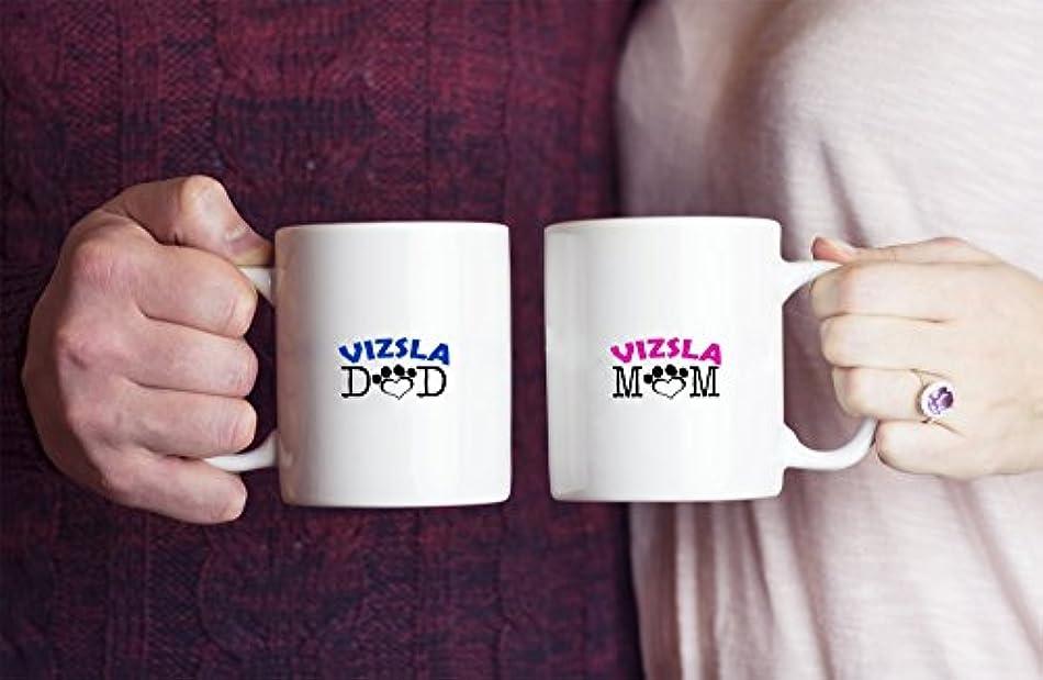繰り返し苛性ロボットFunny Vizsla Coupleマグ – Vizsla Dad – Vizsla Mom – Vizsla Lover Gifts – ユニークなセラミックギフトIdea
