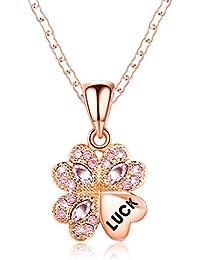 誕生日 プレゼント 女性 人気 ネックレス レディース スワロフスキー ペンダント おしゃれ 四葉のクローバー ギフト 金属アレルギー対応 ピンク
