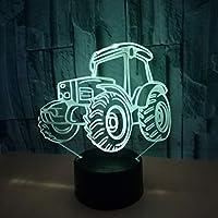 クリエイティブトラクターカラフルな3DナイトライトタッチリモコンLEDビジュアルライト小さなテーブルランプカラフル:タッチ亀裂+リモコン
