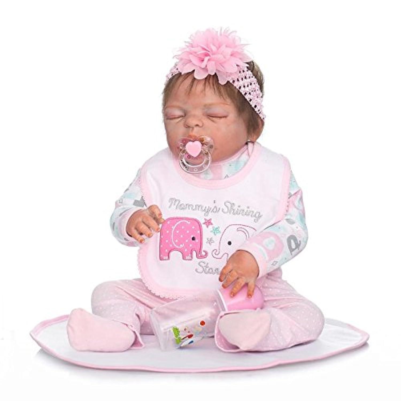 シミュレーションリアルな22インチ57 cm Rebornベビー人形Handmadeフルボディシリコンビニール新生児Closed Eyes人形