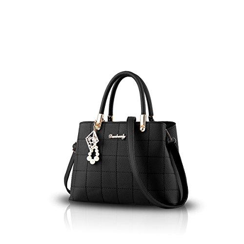 NICOLE&DORIS 新しい女性/レディースファッションハンドバッグメッセンジャークロスボディショルダー財布トートカジュアルワークバッグ 黒