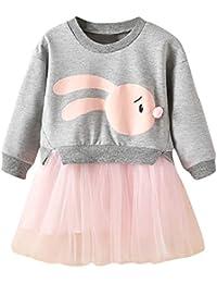 7535be5c7ac23 子供服 Hosam 長袖 メッシュ ドレス 可愛い ウサギ柄 パーカー お嬢様 ワンピース スカート 洋服 幼児トップス 韓国 女児 ベビー服 女の子  赤ちゃん服 柔らかい…