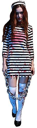 ゾンビ プリズン コスチューム リビングデッド 囚人 血まみれ 傷タトゥーシール付き 衣装 4点セット(ワンピース 帽子 ソックス 傷タトゥーシール2枚) 大人 レディース (XL)
