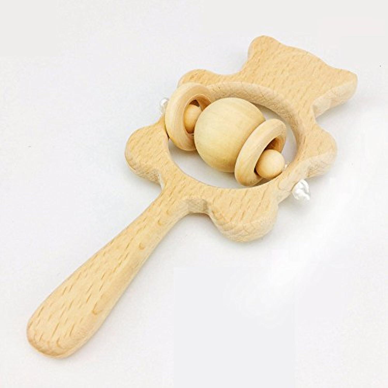 Baby Wooden Rattle Graspingおもちゃ幼児用Raw Polished Beech Wood再生ジムChewable – クリアサウンド
