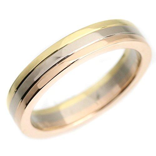 カルティエ Cartier スリーカラーリング 指輪 5号 18金 ホワイト イエロー ピンク ゴールド 中古