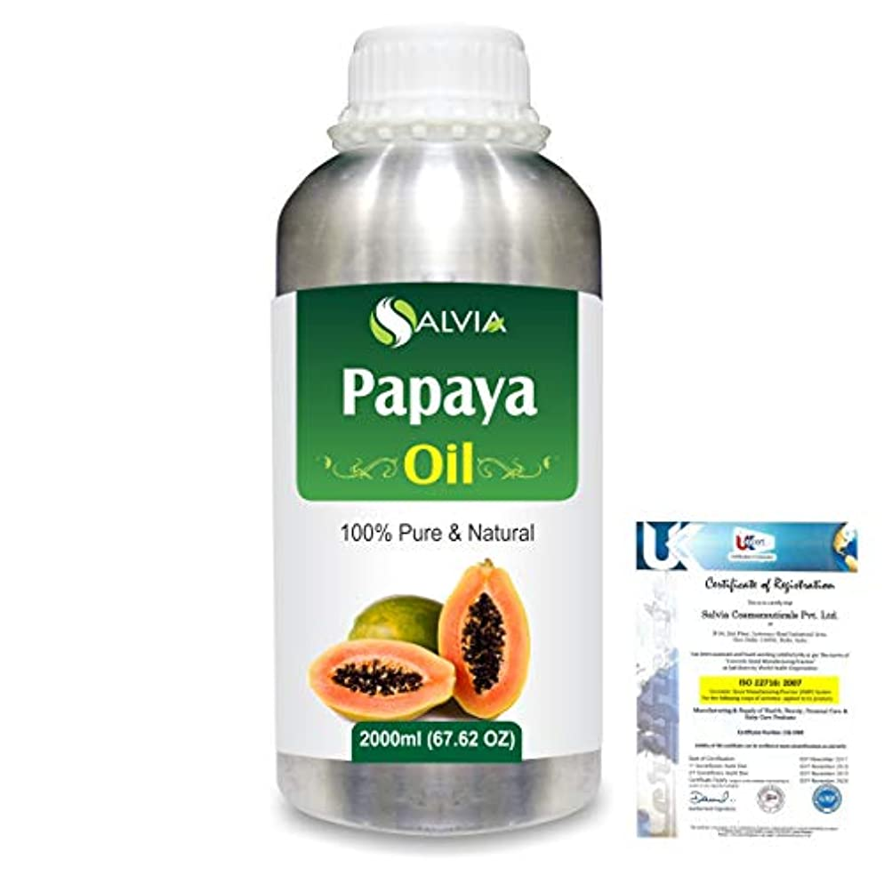 ボーダー義務カプラーPapaya (Carica papaya) Natural Pure Undiluted Uncut Carrier Oil 2000ml/67 fl.oz.
