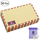 Bolbove Set of 50 AirMail Cute Retro Kraft Paper Postcard Letter Envelopes Invitations (Brown)