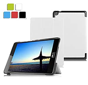 KuGi ASUS ZenPad Z580CA ケース Asus ZenPad S 8.0 ケース 薄型 軽量 マグネット開閉式 三つ折 スタンド機能付き 高級PU レザーケース Asus ZenPad Z580CA 7.9インチ カバー ホワイト
