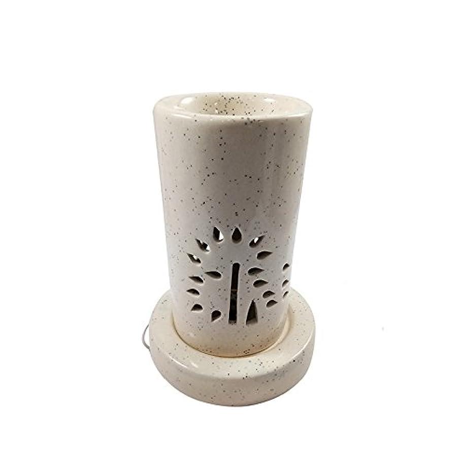 サークルファイターロータリーホームデコレーション定期的に使用する汚染のない手作りセラミックエスニックアロマディフューザーオイルバーナー|良質ブラウン色電気アロマテラピー香油暖かい数量1