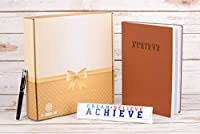 Inspirational Gift Box - Leather Notebook Journal Table Sign and Stylish Executive Pen - Dream Believe Achieve Design [並行輸入品]