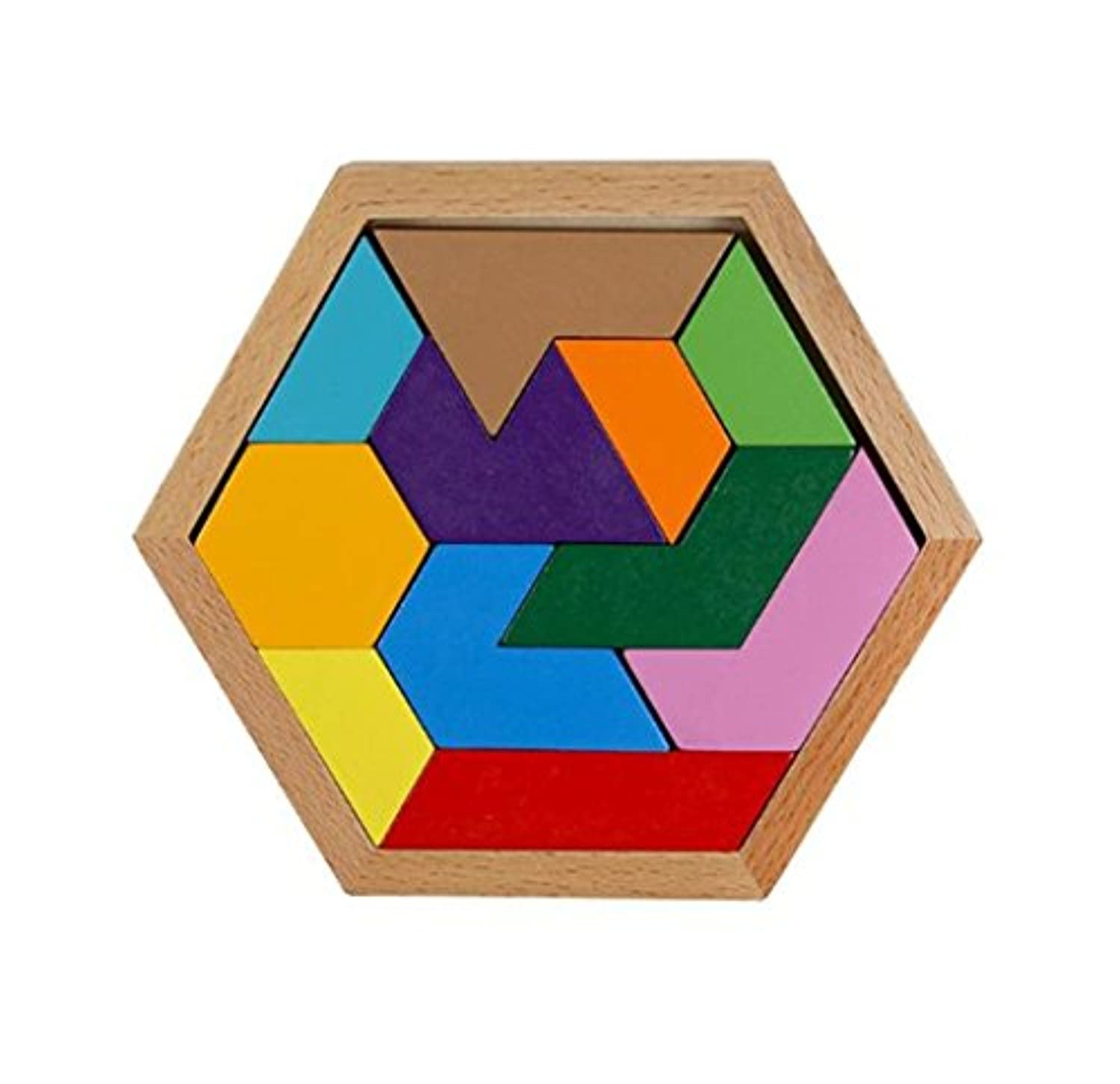 WISDOMTOY 11 Pieces Colourful Wood Brain Teaser Geometry Tangram Jigsaw Lock Puzzle Board Game Educational Toy for Kids