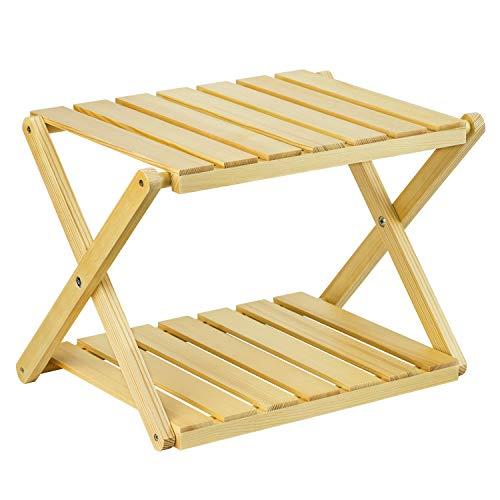 RooLee® 収納棚 キャンプ用品 折り畳み式木製ラック 木製2段ラック 天然木 【12ヶ月保証期間】