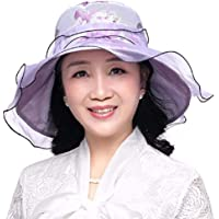 Women's Hat Ms Cap Thin Collapsible Summer Fall Sun Hat Cotton Beach Hat Outdoor Hat (Color : Purple)