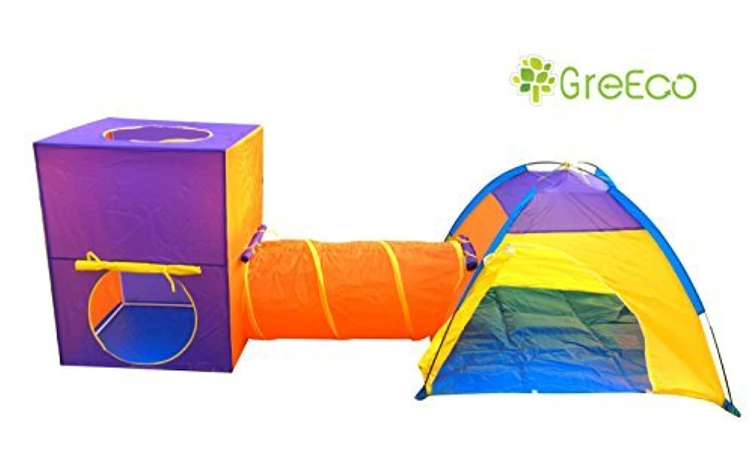 GreEco 3-Pieces Play Tent Set Children Dome and Tunnel and Tower set of 3 [並行輸入品]