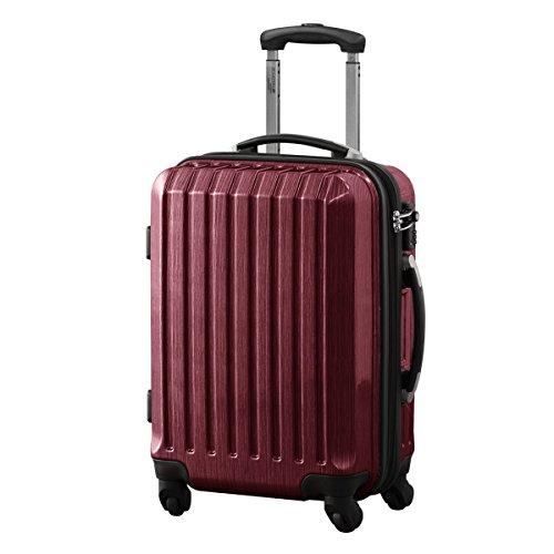 スーツケース TSAロック搭載 機内持込可 軽量 拡張機能付 アルミフレーム 鏡面ヘアライン仕上げ ・約55x39.5x27cm・3.2kg・37~41リットル レッド S