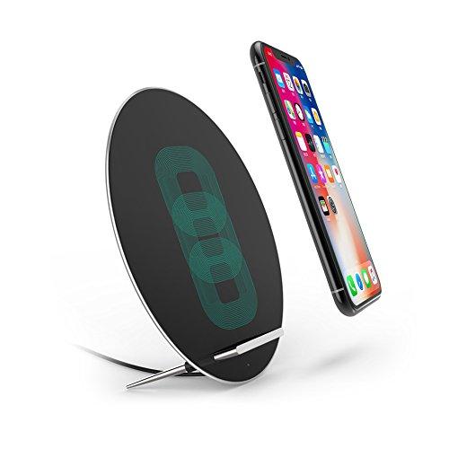 Qi 急速 ワイヤレス充電器 Fast Charger W7 置くだけ充電 ワイヤレスチャージャー 三つのコイル 月の型 Samsung Galaxy Note 8/S8/S8 Plus/S7/S7 Edge/Note 5/S6 Edg シルバーe Plus/iPhone 8/iPhone 8 Plus/iPhone X/他Qi対応機種 プレゼント