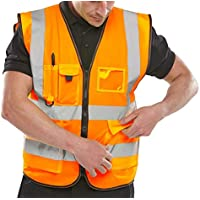 FASHION FAIRIES Women Hi Vis Visibility Executive Zip Up Vest Top Mens Work Reflective Waistcoat