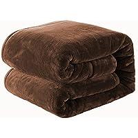 毛布 ブランケット 厚手毛布  フランネル マイクロファイバー 柔軟軽量 発熱効果 洗濯可能 静電防止 2枚合わせ 毛布(シングルサイズ140cm×200cm, ダックブラウン)