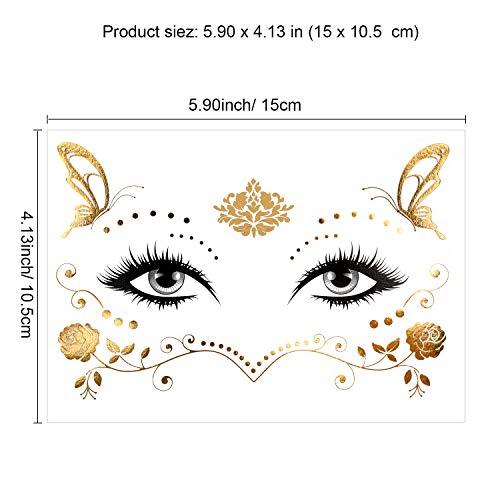 Konsait 8 Sheets Face Tattoo Sticker Metallic Temporary Transfer Tattoo Waterproof Face Jewels for Women Girls Make Up Dancer Costume Parties, Shimmer Glitter Gold Tattoos,Butterfly Star Freckle Scale