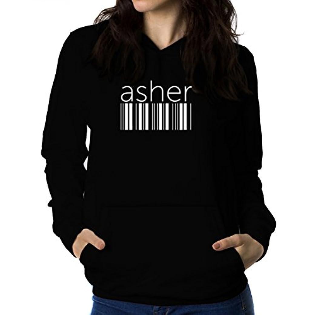 上下するチロ説明するAsher barcode 女性 フーディー