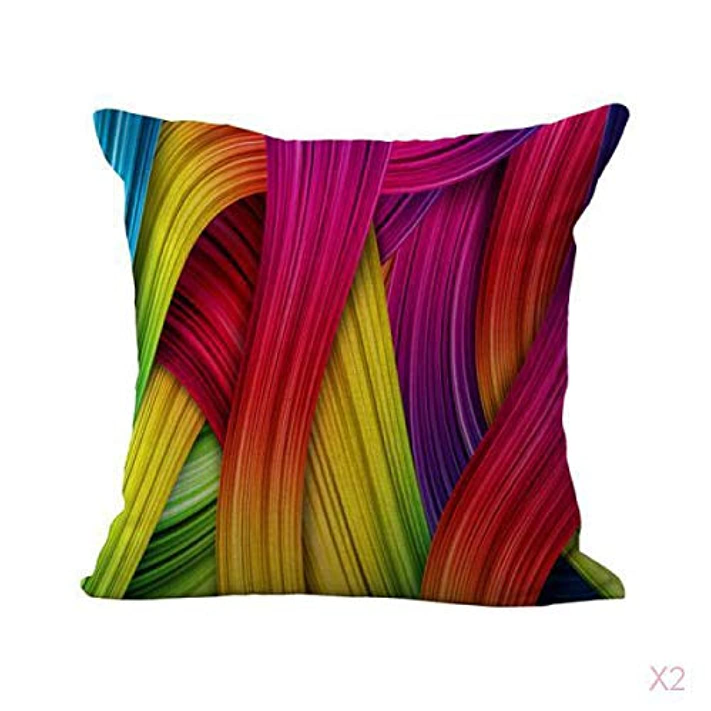 法律シングルインクFLAMEER 色のリボンプリントコットンリネンスロー枕カバークッションカバー装飾