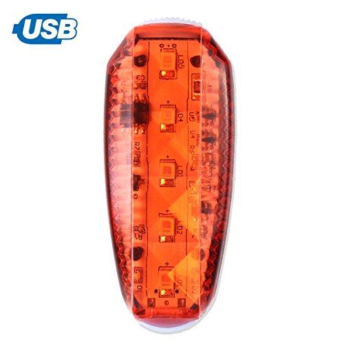 salerno(サレルノ) USB充電式 LED セーフティー クリップ ライト ストロボ発光 ランニング 自転車 散歩 ウォーキング 防水 (レッド)