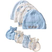 Gerber Baby Boys' 8-Piece Organic Cap and Mitten Set