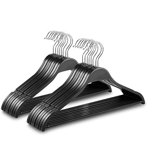 ハンガー 洗濯ハンガー すべらない BOBEELYER 衣類ハンガー 洗濯・物干しハンガー 型崩れにくい 凹み付き スリム 頑丈ハンガー 360度回転可 スカート/ズボン/シャツ/洋服/タオル等に対応 クローゼット収納 hanger 16本組セット(ブラック)