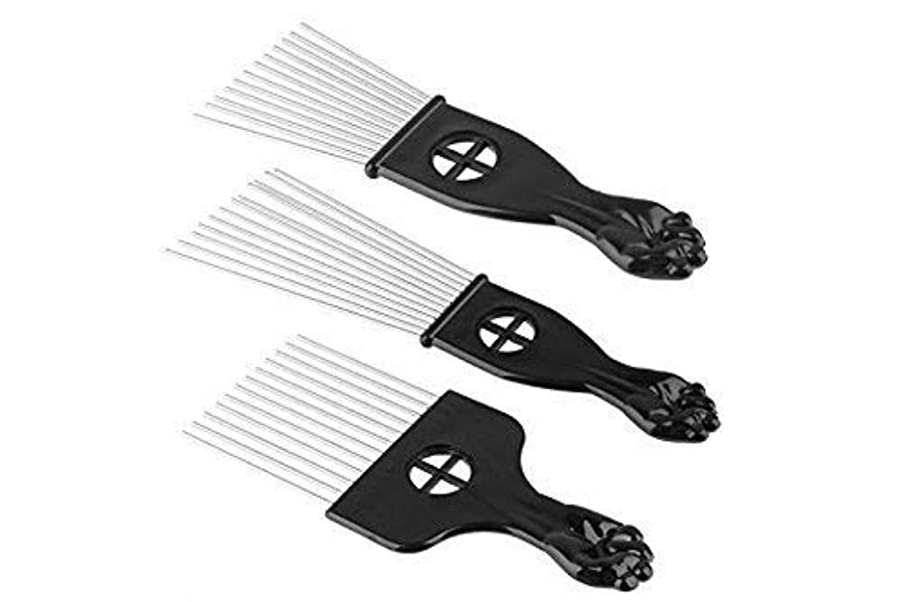 送金欺く不従順3Pc Metal Hair Styling Pik Afro Pick Comb For Volume & Tangles Black Fan Fist Hand Model [並行輸入品]