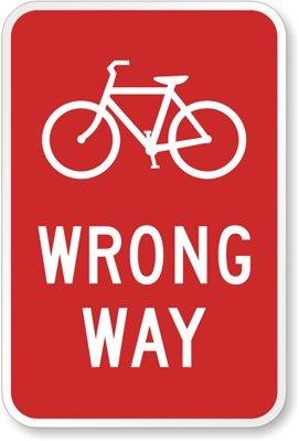 実際にアメリカで使われている道路標識や看板!【トラフィックサインボード BICYCLE WRONG WAY 自転車進入禁止 ロードサイン】