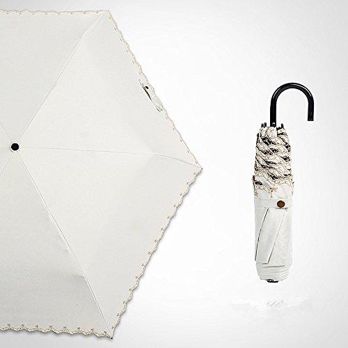 Tengis 折りたたみ傘 レディース 日傘 uvカット 100 遮光 折り畳み 180g軽量 晴雨兼用 遮熱 刺繍 収納ケース付き 可愛い 高級上品 (ホワイト)
