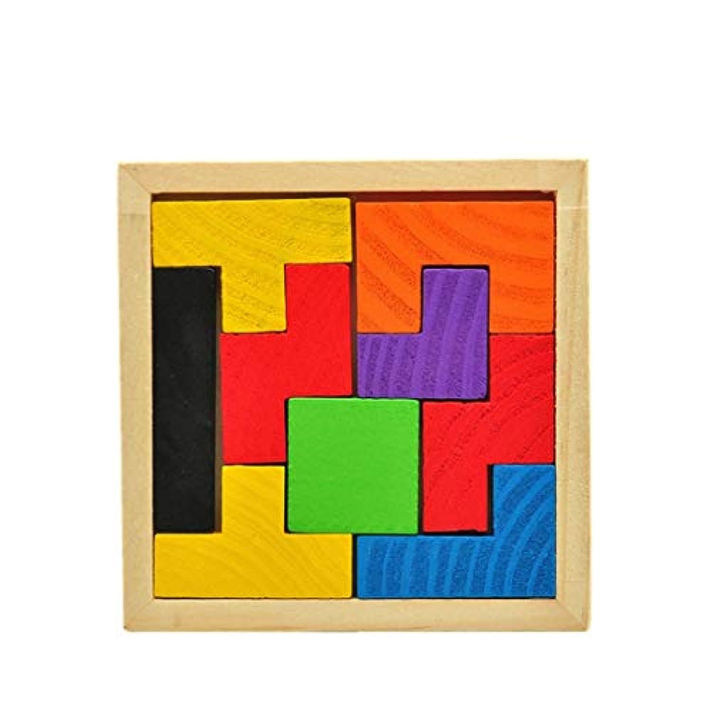 izasky 木製教育玩具 幼児 - 木製テトリスゲーム 教育的遊び ジグソーパズル おもちゃ 子供 木製 タングラム 脳 ティーザー 問題の幼稚園児