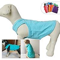 犬ノースリーブTシャツ、大型中型小型犬用のカジュアルドッグコットン服ベストTシャツ、100%着心地の良い、ペットのバック(XL、青松石色)