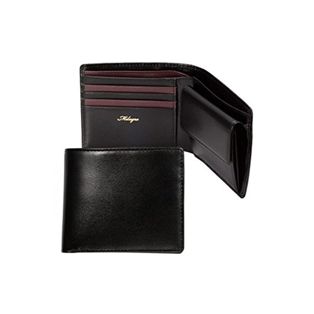 辞書課税瞬時にMilagro ミラグロ グレイスレザー 牛革 二つ折り 短財布 ショートウォレット ブラック×ボルドー OH-BP015-BD
